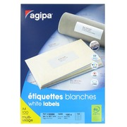 Box of 1400 address labels Agipa 118986 white 99,1 x 38,1 mm for laser and inkjet