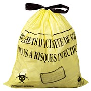 Box of 500 garbage bags 50 l NF with closure ribbon for clinical waste