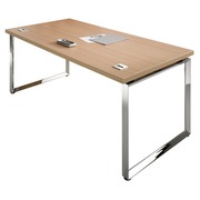 Straight desk W 180 x D 90 cm top in ebony black undercarriage chromed steel Shiny