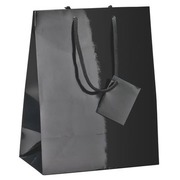 Box of 10 glossy black shopping bags with cord handles 23 x 18 x 10 cm