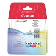 Pack of 3 cartridges Canon CLI 521