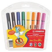 Sleeve of 8 coloured felt-tip pens Stabilo Trio Scribbi assortment large point