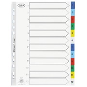 Dividers A4 Polypropylen coloured Elba 12 multicoloured tabs numbers