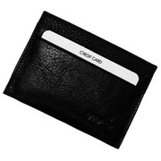Card holder - black leather - 4 credit cards - anti RFID