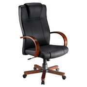 Armchair Partner 2 black leather - finish in wood - suppleness