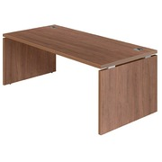 Straight desk Shiney W 180 x D 90 cm tabletop in walnut with full undercarriage in wood