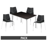 Pack Klass One black - 1 rectangular table + 4 chairs