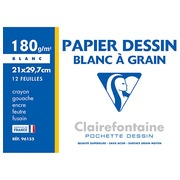 Sleeve 12 sheets of drawing-paper white A4+ Clairefontaine grained 180 g