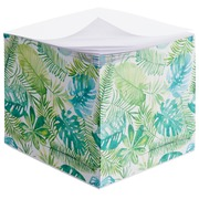 Cube with repositionable notes pattern of leaves Bruneau 90 x 90 mm - block of 600 sheets.