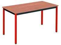 Meeting table multiform classic rectangle plate teak base metal tube red