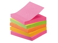 Pack 4 + 1 gratis assortiment notes fluo kleuren 76 x 76 mm Super Sticky