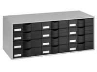 Grey storage cupboard, with 12 black drawers