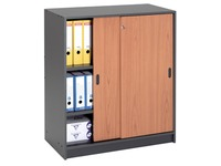 Cabinet in anthracite with sliding doors 100 x 90 cm